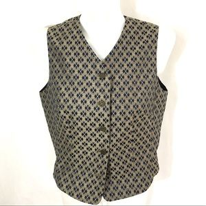Navy & Tan Brocade Lined Vest Size 8